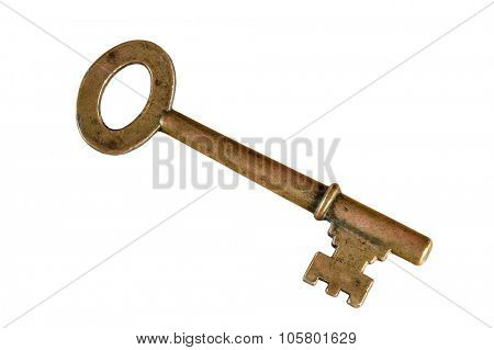 Vintage skeleton key isolated over white background - with clipping path