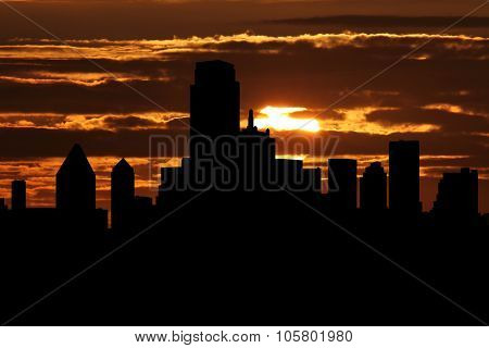 Dallas skyline at sunset illustration