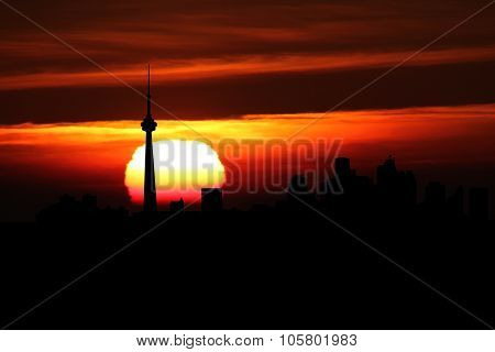 Toronto skyline at sunset illustration