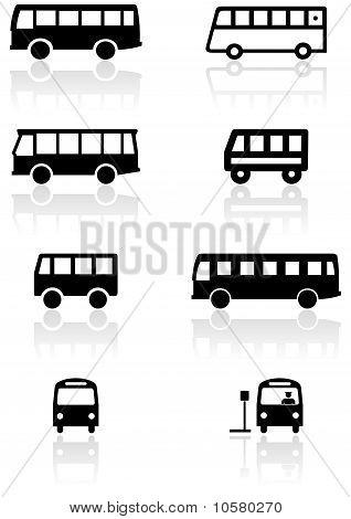 Bus or van symbol vector set.