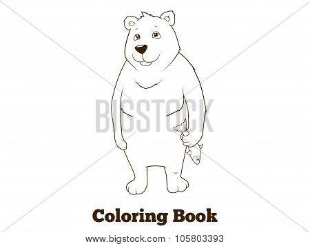 Polar bear cartoon coloring book vector