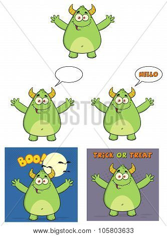 Happy Horned Green Monster Collection