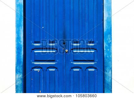 Antique blue door on the city of Ouro Preto, Minas Gerais, Brazil