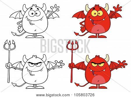 Angry Devil Cartoon Character Collection