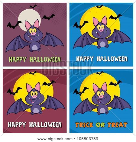 Happy Vampire Bat Character Flying Collection