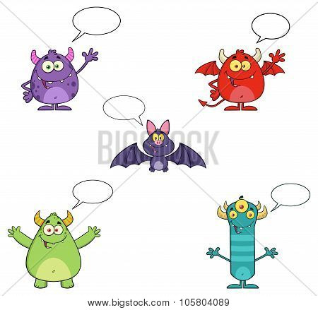 Five Halloween Characters With Speech Bubbles