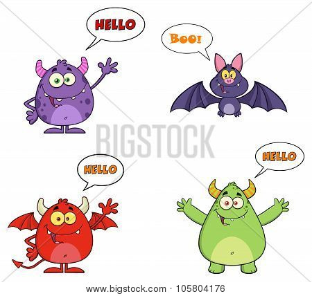 Four Halloween Cartoon Characters