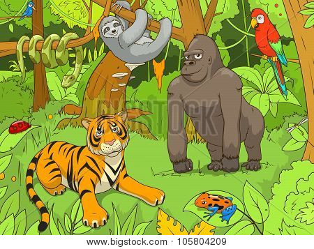 Jungle animals cartoon vector illustration