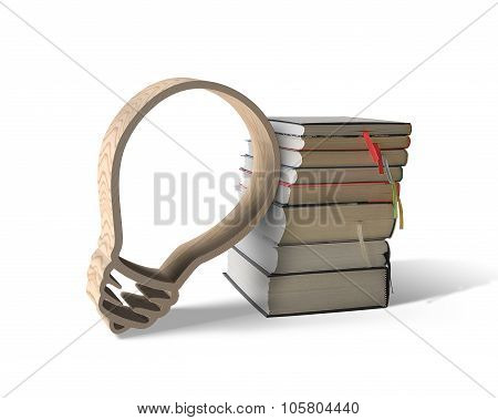 Wooden Bulb Shape With Stack Of Books