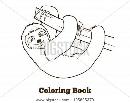 Sloth cartoon coloring book vector illustration