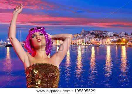 Girl tourist pink wig in dancing Ibiza nightlife at sunset photomount