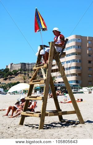 Lifeguard on watchtower, Fuengirola.