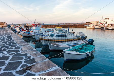 View of the harbour of Greek Island Paros