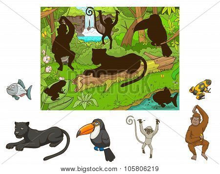 Jungle cartoon educational game find animal vector