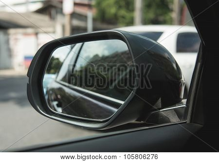 Wing Mirror Of Black Car