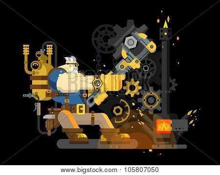 Steam engineer working