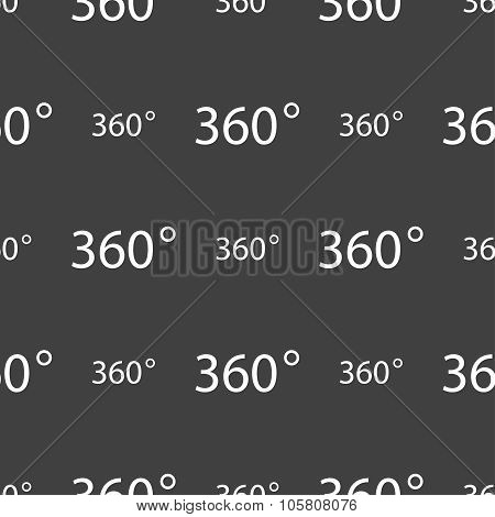 Angle 360 Degrees Sign Icon. Geometry Math Symbol. Full Rotation. Seamless Pattern On A Gray Backgro