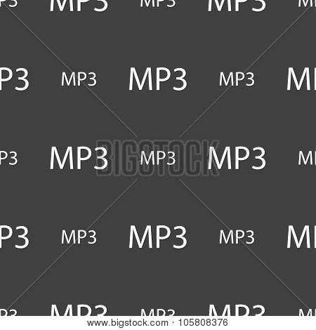 Mp3 Music Format Sign Icon. Musical Symbol. Seamless Pattern On A Gray Background. Vector