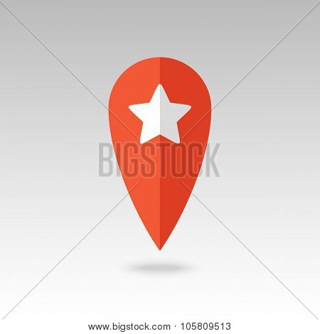 Star favorite pin map icon. Map pointer, markers.