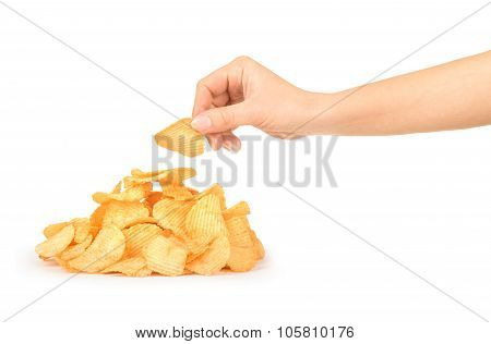 Pile Of Potato Chips Isolated On White