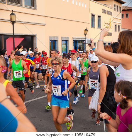 Corralejo - October 30:  Runners Start The Race At Iiird International Fuerteventura Half-marathon 3