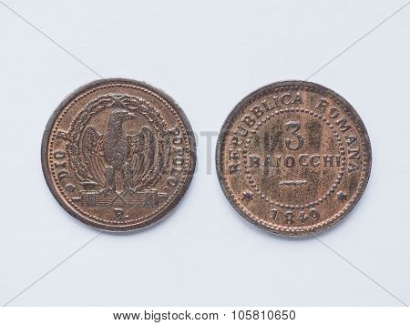 Old Italian Coin 3 Baiocchi