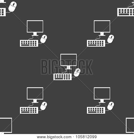 Computer Widescreen Monitor, Keyboard, Mouse Sign Icon. Seamless Pattern On A Gray Background. Vecto