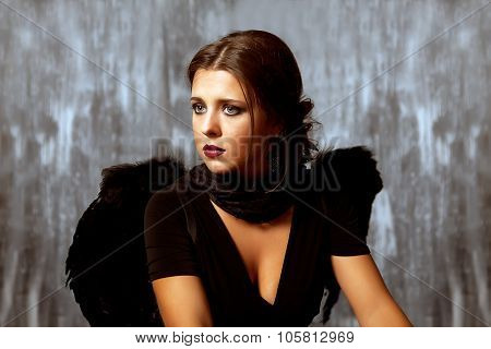 Black Angel Girl Stock Image