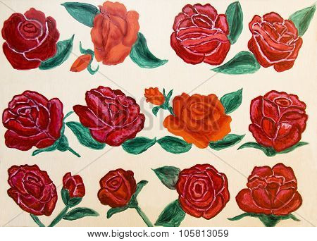 Red Roses, Painted