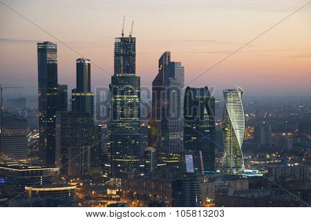 MOSCOW - SEP 20, 2015: Modern Moscow International Business Center at morning. Investments in Moscow International Business Center was approximately 12 billion dollars