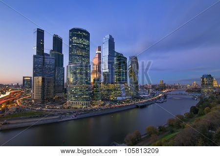 MOSCOW, RUSSIA - OCT 6, 2015: Cityscape of skyscrapers of Moscow City business complex and river. Moscow International Business Center Moscow City includes 20 futuristic buildings