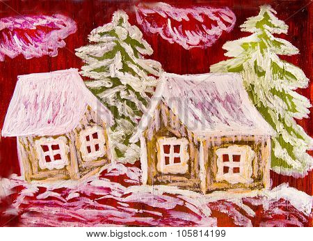 Winter Houses On Crimson, Painting