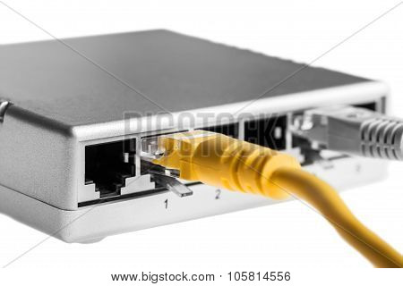 Router With Wires Closeup