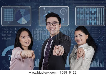 Mixed Race Teamwork With Futuristic Interface