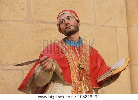 Polycrhome Statue Of A Theologian In Burgos Cathedral