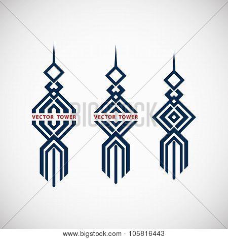 Geometric tower emblem
