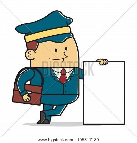 Postman holding sign