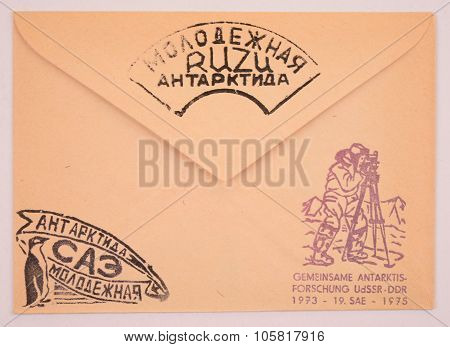 Russia-circa 1973: Postage Envelope Edition Of Moscow Shows The Image Postmarks Polar Scientific Res