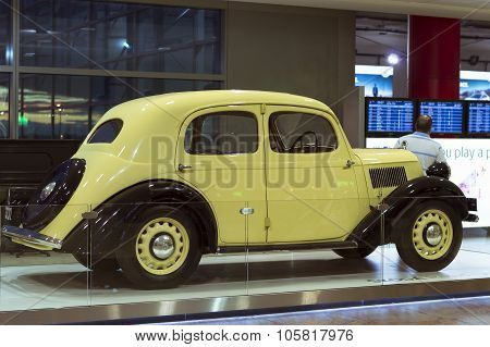 Old Retro Car Skoda In The Prague Airport
