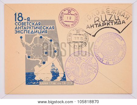 Russia Around 1973: Postage Envelope Edition Of Moscow Shows The Image Postmarks Antarctica South Po