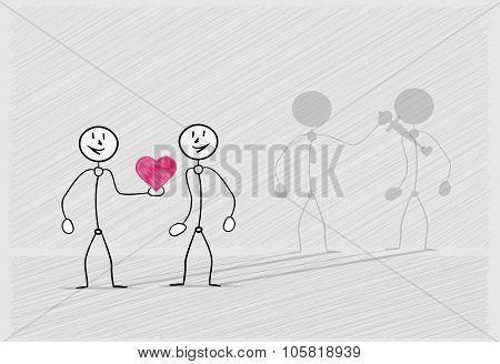 Man Giving His Fake Heart