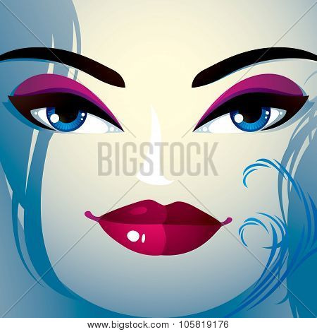 Face Makeup. Lips, Eyes And Eyebrows Of An Attractive Woman Displaying Happiness. Fashionable Female
