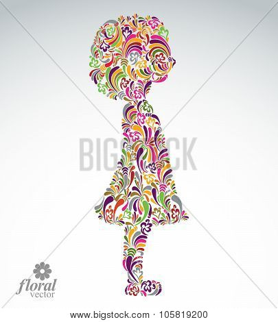 Creative Illustration Of A Girl With A Short Hair. Cute Teenage Girl Wearing Flower-patterned Dress