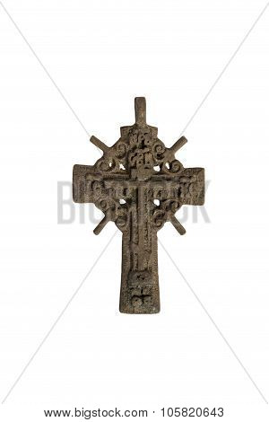 cross Orthodox old antique copper nabelam the background