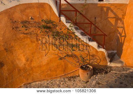 Orange Wall And Stairs, Oia, Santorini, Greece