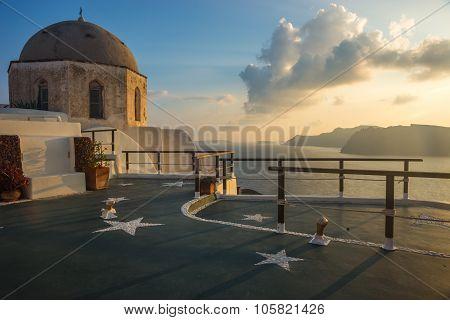 Dome Of A Church And Stars, Oia, Santorini, Greece