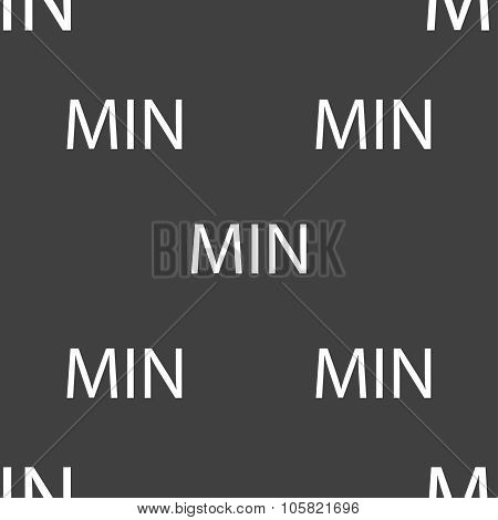 Minimum Sign Icon. Seamless Pattern On A Gray Background. Vector