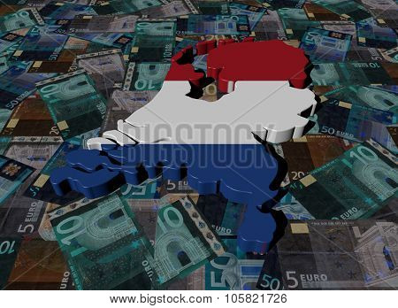 Netherlands Map flag on Euros illustration