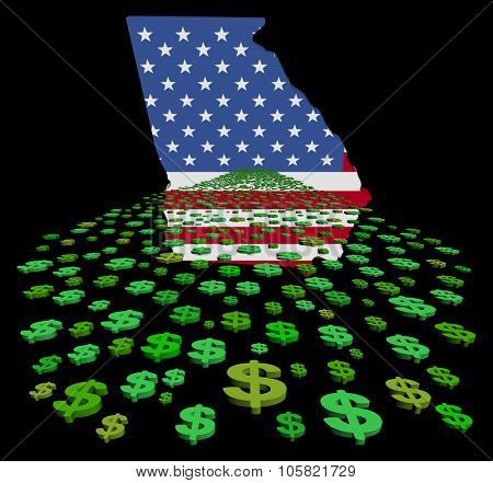 Georgia map flag with abstract dollars illustration
