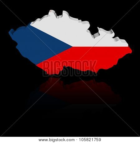 Czech map flag with reflection illustration